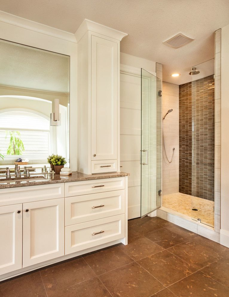 Oregon Tile and Marble for a Transitional Bathroom with a Widespread Faucet and Street of Dreams   Trillium by Garrison Hullinger Interior Design Inc.