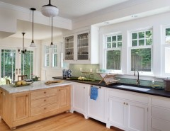 Oregon Tile and Marble for a Victorian Kitchen with a Black Granite Counter and Roanoke 4 Square by Gaspar's Construction