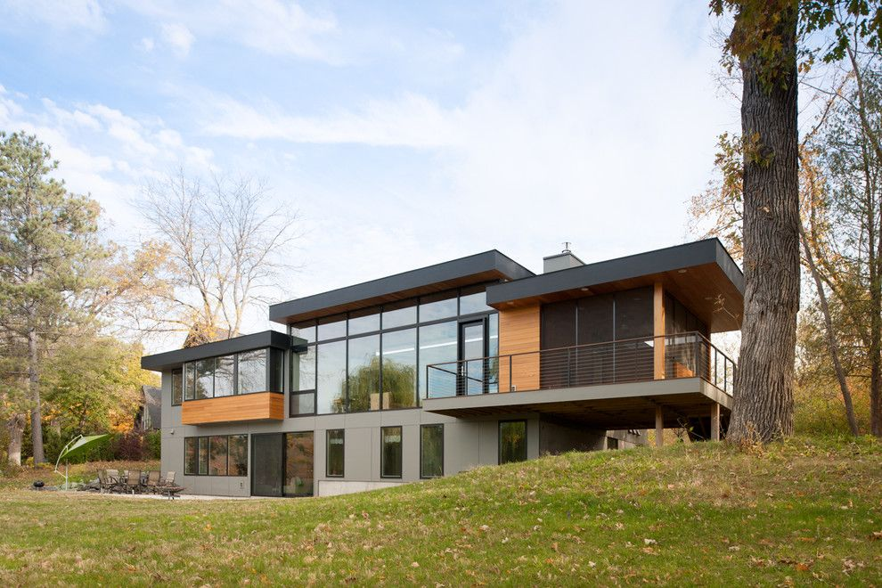 Oriel Window for a Contemporary Exterior with a Clerestory Windows and Lotus Lake Residence by Citydeskstudio, Inc.