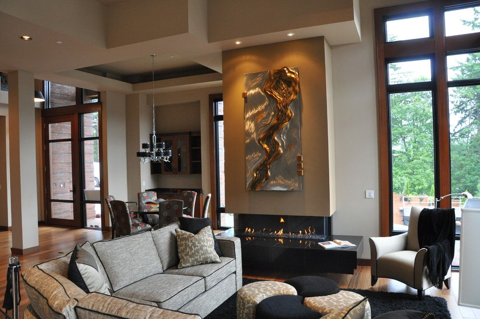 Ortal Fireplaces for a Contemporary Family Room with a Custom and Ortal Usa Featured in 20/20 Home by Ortal Usa