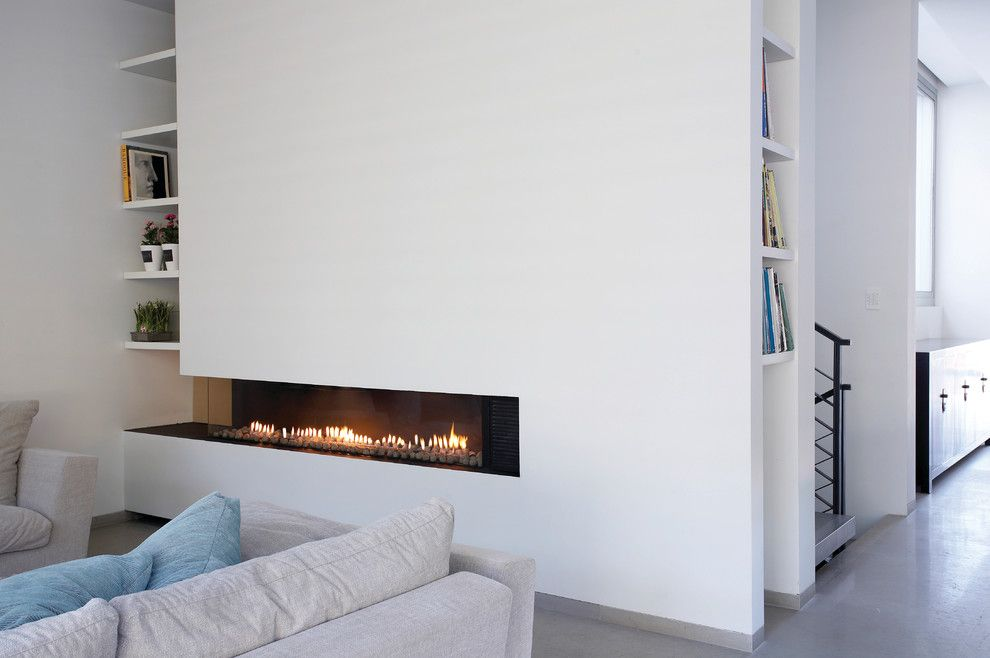 Ortal Fireplaces for a Contemporary Living Room with a Gas Fireplace and Ortal Usa   Clear 150 Ls by Ortal Usa