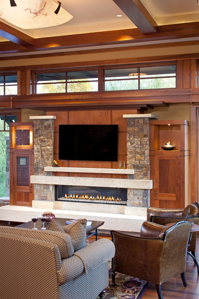 Ortal Fireplaces for a Craftsman Living Room with a Stone and Wayzata Arts & Crafts by John Kraemer & Sons