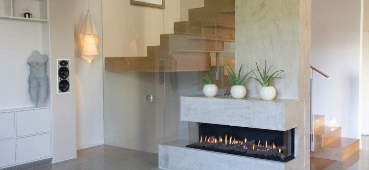 Ortal Fireplaces for a Modern Living Room with a Clean and ORTAL USA - Clear 150 TS by Ortal USA