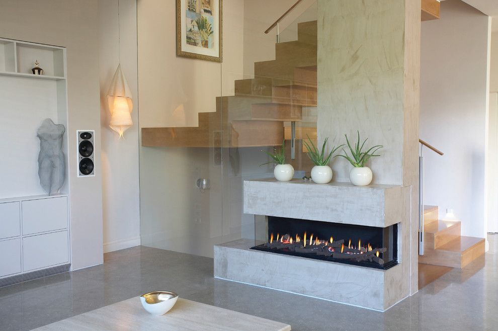 Ortal Fireplaces for a Modern Living Room with a Clean and Ortal Usa   Clear 150 Ts by Ortal Usa