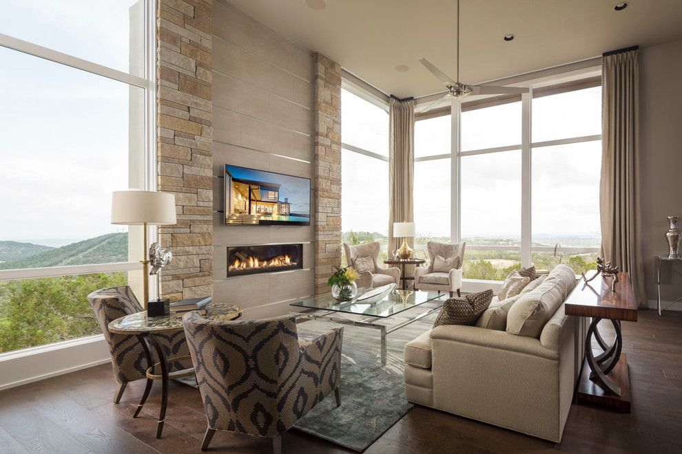 Ortal Fireplaces for a Transitional Living Room with a Textures and 2015 Austin Parade Home in Serene Hills by John William Interiors
