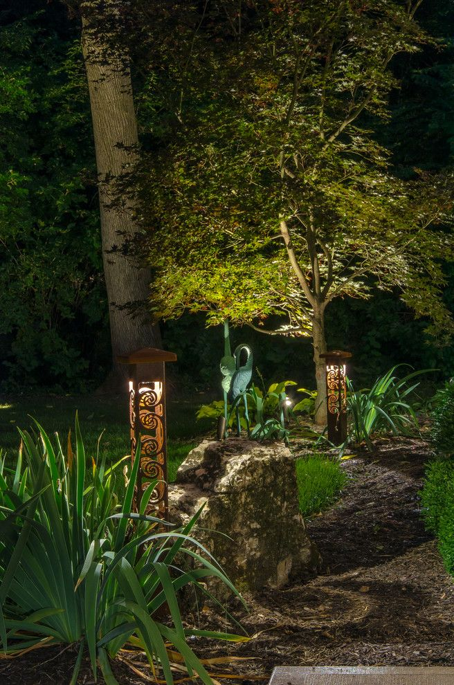 Outdoor Lighting Perspectives for a Contemporary Landscape with a Design and *New* Outdoor Lighting Perspectives Sculpture Lights by Outdoor Lighting Perspectives of Chattanooga