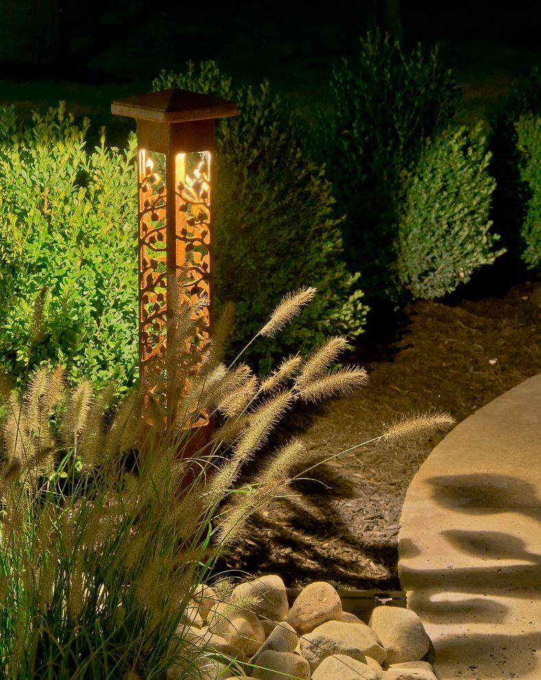 Outdoor Lighting Perspectives for a Contemporary Landscape with a Unique Lighting and *New* Outdoor Lighting Perspectives Sculpture Lights by Outdoor Lighting Perspectives of Chattanooga