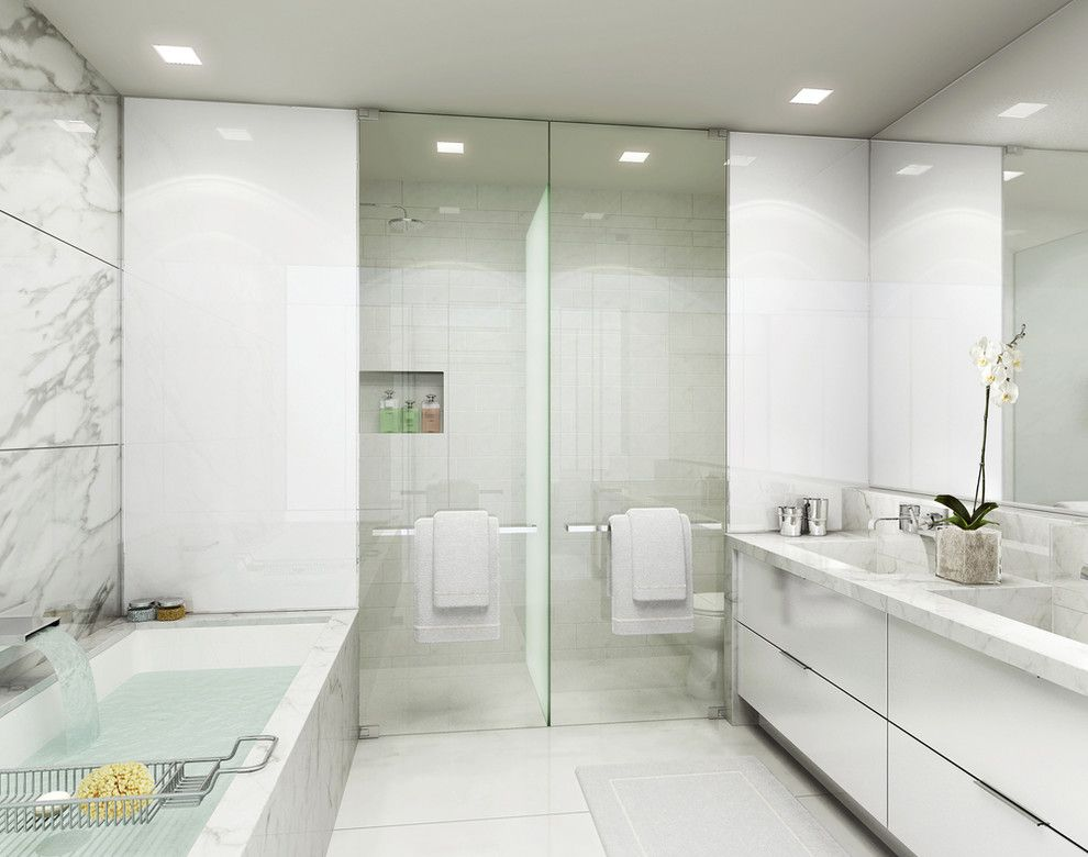 Padio for a Contemporary Bathroom with a Contemporary and Park Ave Ala Mode by Flatbrook & Co