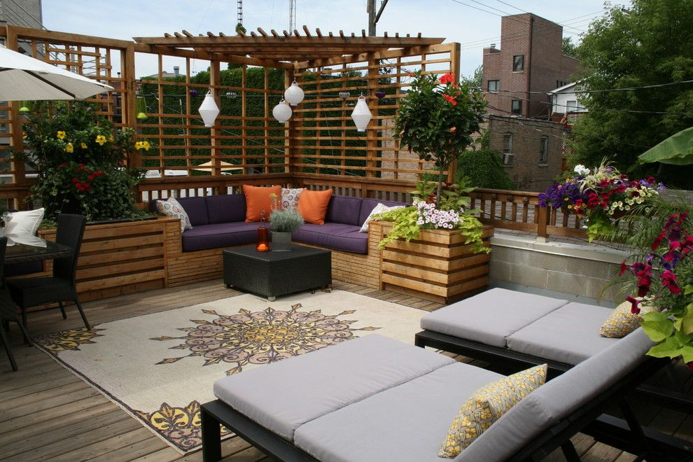 Padio for a Traditional Patio with a Wood Deck and Christin Eggener by C. Marie Designs, Inc