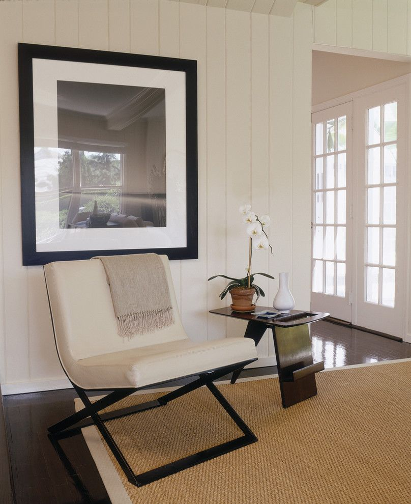 Painted Paneling for a Contemporary Entry with a Neutral Colors and East Hampton by Thom Filicia Inc.