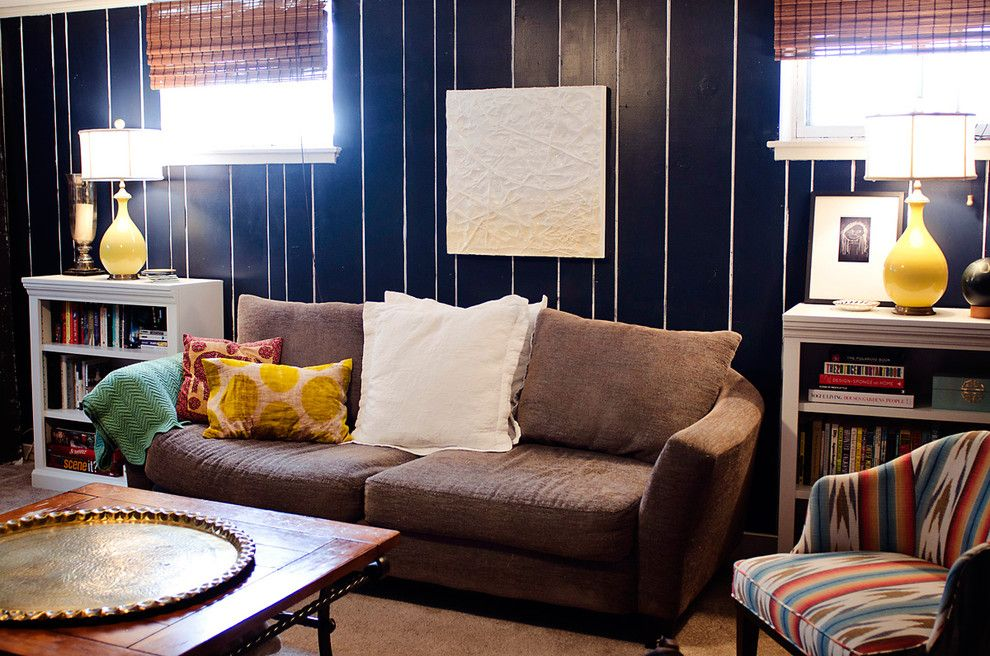 Painted Paneling for a Eclectic Living Room with a Pin Stripe and Eclectic Living Room by Houzz.com