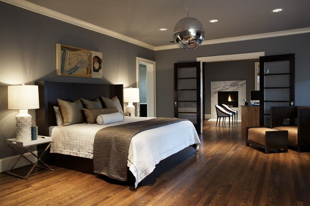 Painted Plywood Floors for a Contemporary Bedroom with a Arm Chair and Modern Craftsman Master Bedroom by Beth Dotolo, Asid, Rid, Ncidq