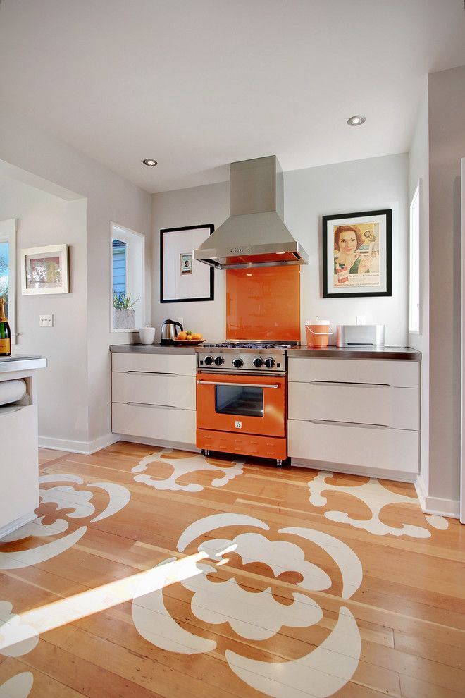 Painted Plywood Floors for a Contemporary Kitchen with a White Drawers and Ballard Residence by Zinc Art + Interiors