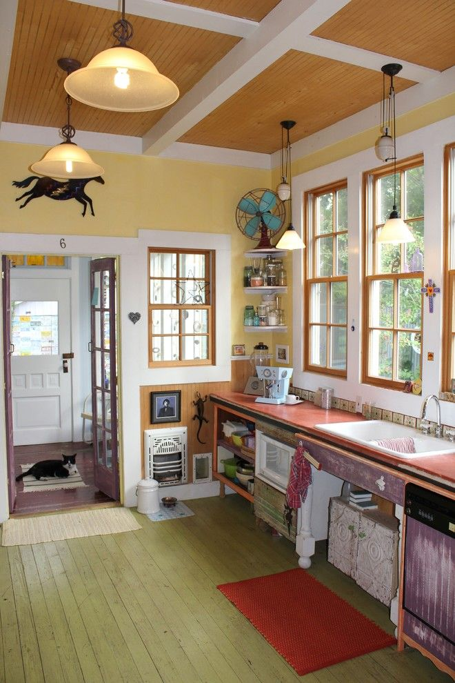 Painted Plywood Floors for a Eclectic Kitchen with a Horse Art and Our Kitchen by Robert Mace