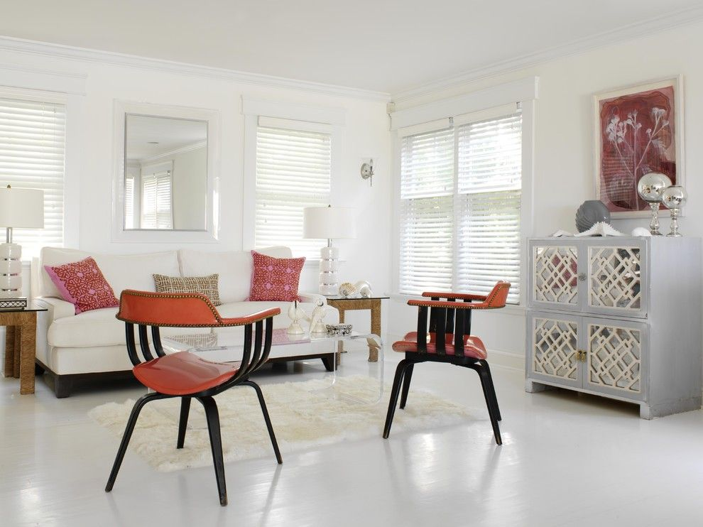Painted Plywood Floors for a Eclectic Living Room with a Symmetry and Living Room by Tara Seawright