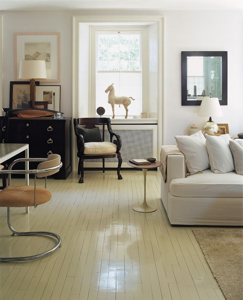 Painted Plywood Floors for a Traditional Living Room with a Desk and American Modern Thomas O'brien by Abrams