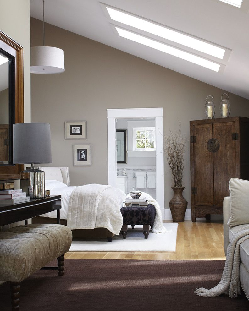 Painted Plywood Floors for a Transitional Bedroom with a Master Bedroom and Mill Valley, CA by Urrutia Design