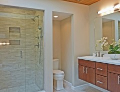 Painted Wood Paneling for a Eclectic Bathroom with a Contemporary and Hudson Valley Design by Hudson Valley Design