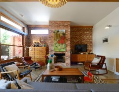 Painting Brick Fireplace for a Midcentury Living Room with a Red Brick and Mid Century Modern Family Home Situated One Metre From workaMy Houzz: Connecting by Jeni Lee