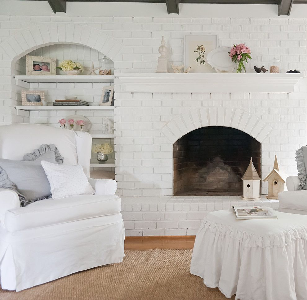 Painting Brick Fireplace for a Shabby Chic Style Living Room with a Brick Fireplace Surround and Belgian Chic in a 1970's Ranch by Kristie Barnett, the Decorologist