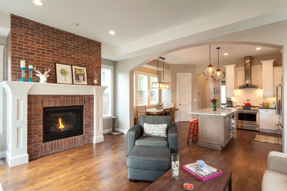 Painting Brick Fireplace for a Transitional Living Room with a Washington Park and Camille by Cline Design Group