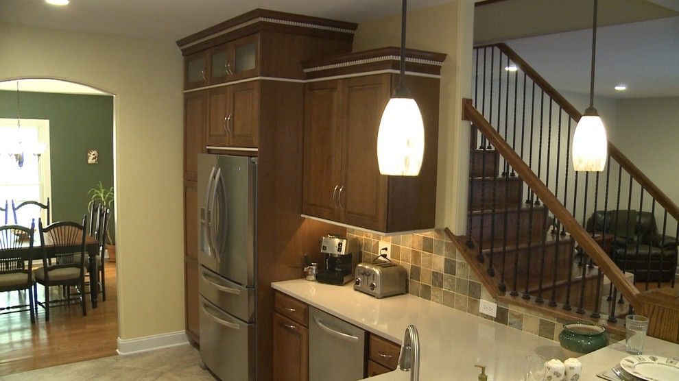 Painting Oak Cabinets for a Traditional Kitchen with a Stainless Steel Appliance and Tim P by Curtis Lumber Ballston Spa