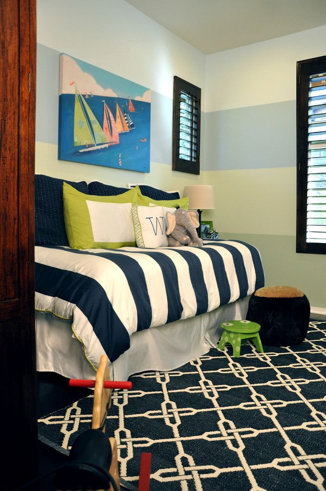 Painting Stripes on Walls for a Beach Style Kids with a Plantation Shutters and Portfolio by Jessica Bennett Interiors