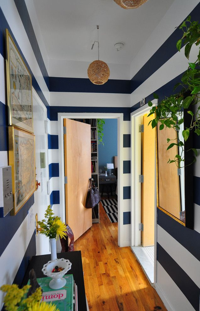 Painting Stripes on Walls for a Eclectic Entry with a Milk Glass and Harlem Apartment   Hall by Scheer & Co.
