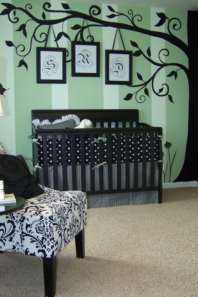 Painting Stripes on Walls for a Traditional Kids with a Artwork and Anita Roll by Anita Roll Murals