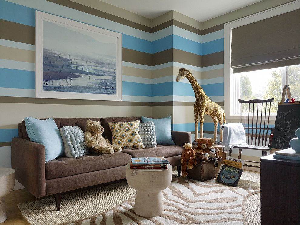 Painting Stripes on Walls for a Transitional Kids with a Striped Walls and Marina Playroom by Jute Interior Design