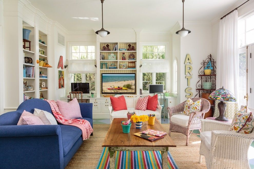 Painting Wicker Furniture for a Beach Style Family Room with a Desk in Family Room and Beach Cottage by Alison Kandler Interior Design