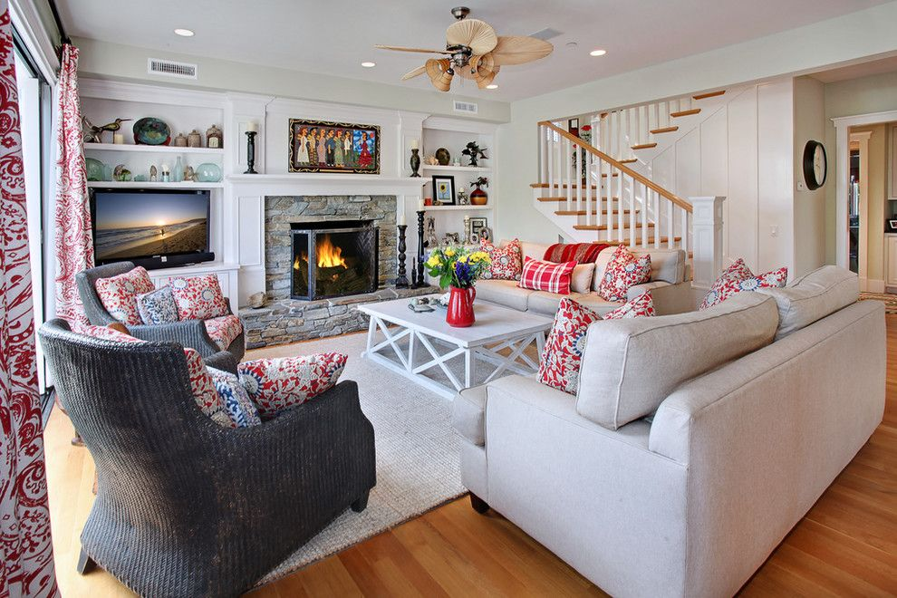 Painting Wicker Furniture for a Beach Style Living Room with a Ceiling Fan and San Clemente Remodel by Darci Goodman Design