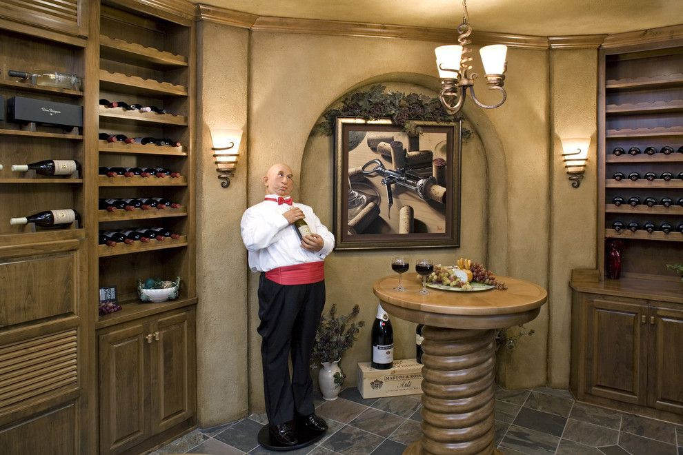 Painting with a Twist Lake Charles for a Traditional Wine Cellar with a Round Table and Wine Room by John Kraemer & Sons