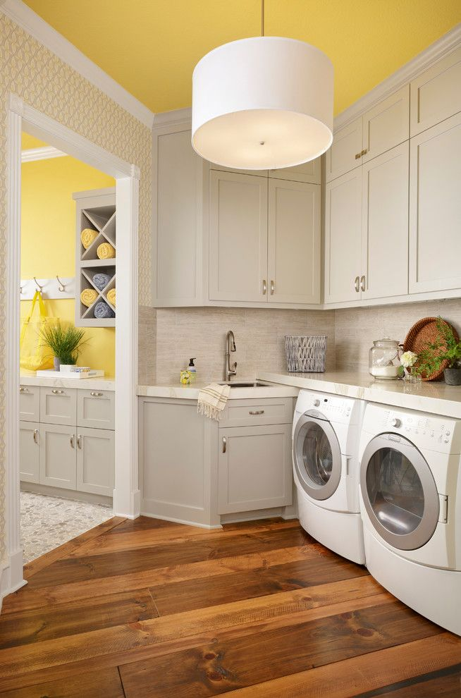 Painting with a Twist Lake Charles for a Transitional Laundry Room with a Accent Wall and Light, Bright, Classically Modern Kitchen and Bathroom Update by Cindy Aplanalp Yates & Chairma Design Group