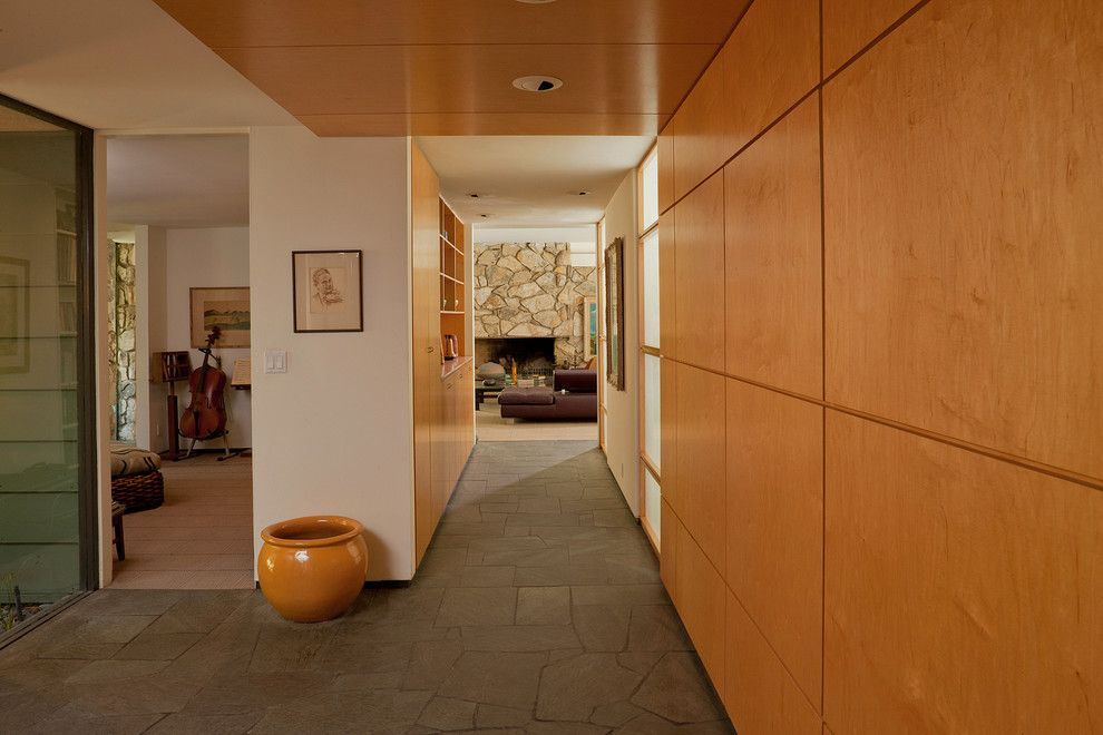 Painting Wood Paneling for a Contemporary Entry with a Ceiling Lighting and Entry by Kiyohara Moffitt