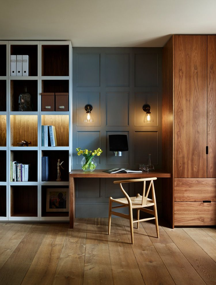 Painting Wood Paneling for a Contemporary Home Office with a Display Cabinet and Teddy Edwards Bespoke Study & Library Furniture by Teddy Edwards