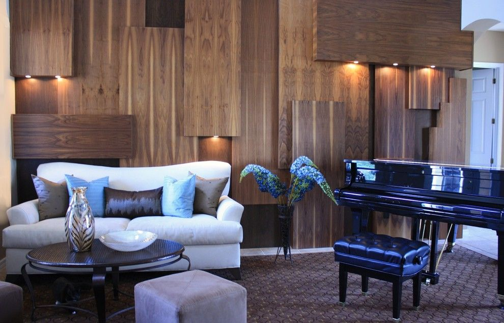 Painting Wood Paneling for a Contemporary Living Room with a Piano and Shari Misturak by in Studio & Co. Interiors