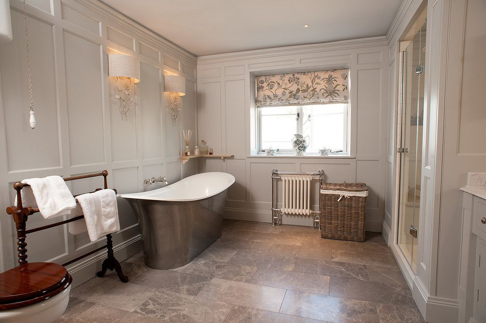 Painting Wood Paneling for a Traditional Bathroom with a Bathroom and Wall Panelled Bathroom by Trefurn