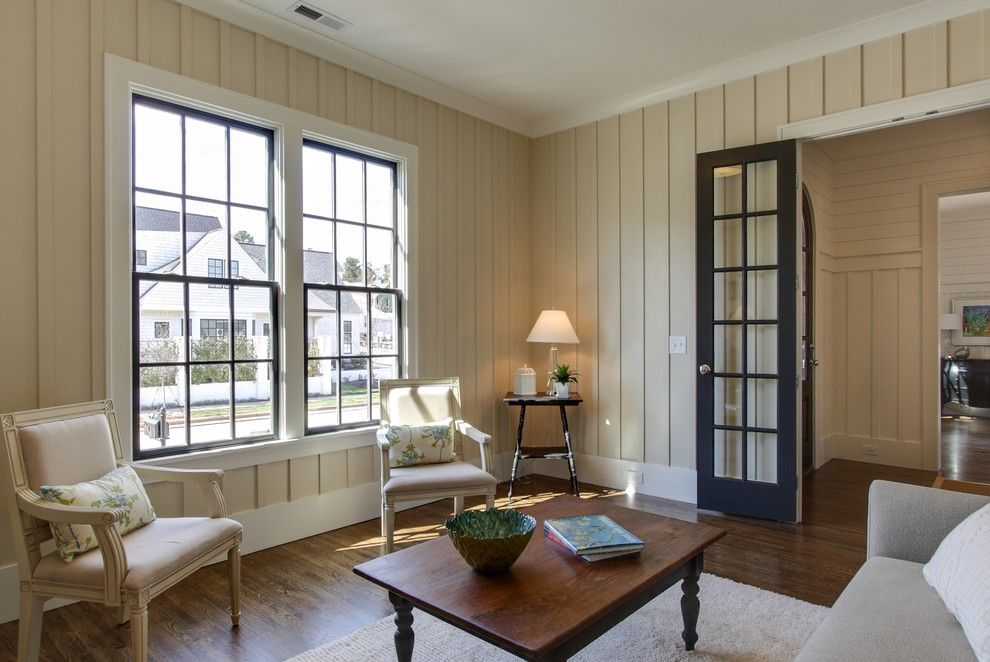 Painting Wood Paneling for a Traditional Living Room with a Dark Wood Floor and Saussy Burbank   Cambridge by Tad Davis Photography