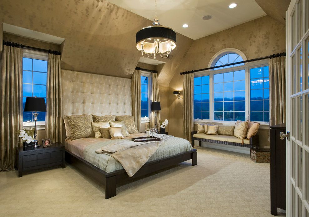 Palladian Window for a Contemporary Bedroom with a Oversized Headboard and Haverford Reserve | the Carriage Homes by Guidi Homes