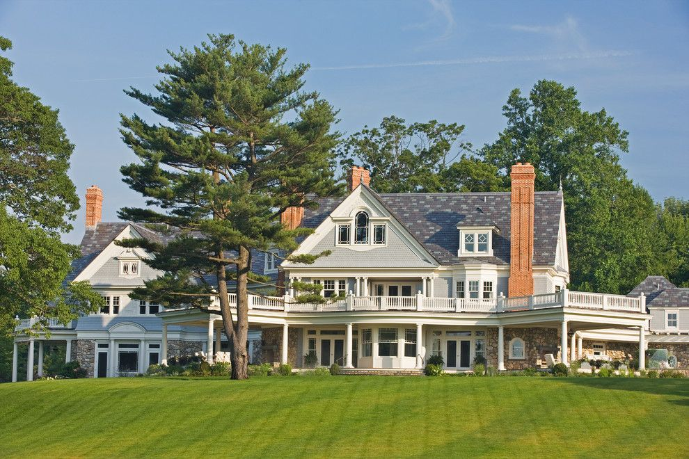 Palladian Window for a Traditional Exterior with a Wraparound Deck and Connecticut Residence #4 by GT Electric