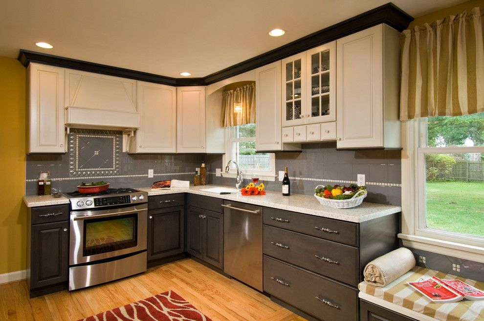 Palladian Window for a Traditional Kitchen with a Tile Backsplash and Multi Colored Kitchen by Kitchen and Bath World, Inc