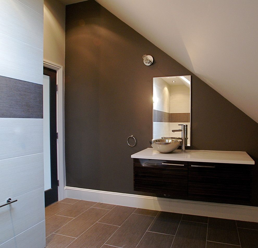 Pallet Flooring for a Modern Bathroom with a Dark Wall and Bathrooms by Melissa Miranda Interior Design