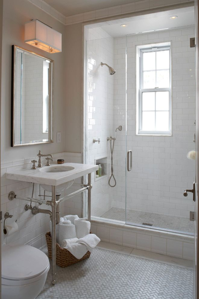 Pallet Flooring for a Transitional Bathroom with a Wall Mirror and Union Square Transitional Renovation by B Moore Design, Inc.