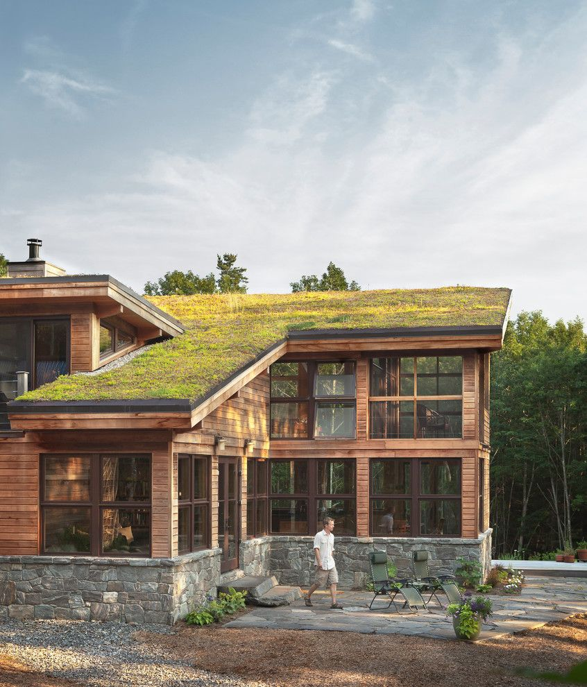 Pallet Shed for a Contemporary Exterior with a Vegitated and Home on Pemaquid Pond by Briburn – Architecture for Life