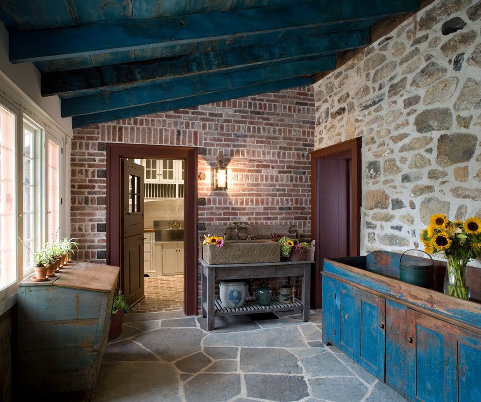 Pallet Shed for a Rustic Porch with a Brick Wall and Additions and Renovation   Oley, Pa by Peter Zimmerman Architects