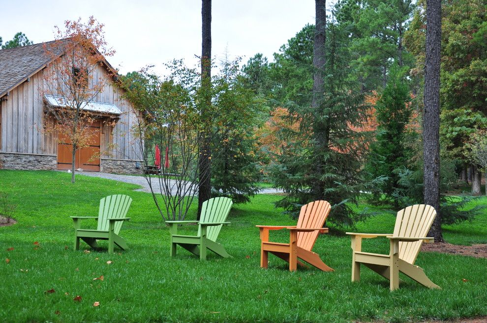Pallet Shed for a Traditional Landscape with a Adirondack and Barn Fire Pit Terrace by the Collins Group/jdp Design