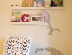 Pallet Shelf for a Contemporary Nursery with a Photo Ledge and Girl's Room by Jennifer - Rambling Renovators