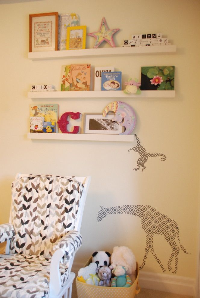 Pallet Shelf for a Contemporary Nursery with a Photo Ledge and Girl's Room by Jennifer   Rambling Renovators