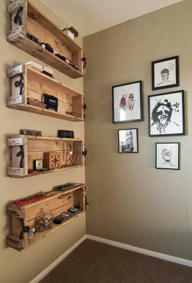 Pallet Shelf for a Eclectic Spaces with a My Houzz and My Houzz: Eclectic Repurposing Fits First Time Homeowners in Utah by Lucy Call